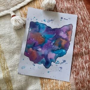 Ohio watercolor print